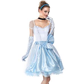 cheap Movie & TV Theme Costumes-Princess Cinderella Dress Flower Girl Dress Women's Movie Cosplay A-Line Slip Cosplay Light Blue Dress Gloves Headwear Halloween Carnival Masquerade Tulle Polyester