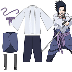 cheap Anime Costumes-Inspired by Naruto Uchiha Sasuke Anime Cosplay Costumes Japanese Outfits Top Pants Rope For Men's Women's / Wrist Brace