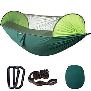 preiswerte Campingmöbel-Camping-Hängematte mit Pop-Up-Moskitonetz Außen Tragbar Sonnenschutz Atmungsaktiv Anti - Moskito Extraleicht(UL) Fallschirm aus Nylon mit Karabinern und Baumgurten für 2 Personen Camping & Wandern