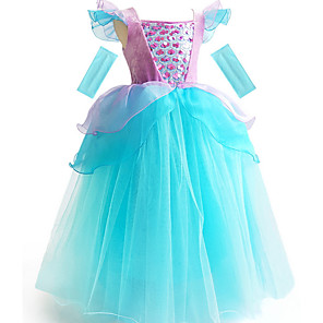 cheap Movie & TV Theme Costumes-Ball Gown Floor Length Event / Party / Birthday Flower Girl Dresses - POLY Short Sleeve Scoop Neck with Cascading Ruffles / Color Block / Paillette