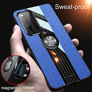cheap Everyday Cosplay Anime Hoodies & T-Shirts-Magnetic Ring Holder Fabric Soft TPU Frame Case For Huawei P40 Pro P40 Lite P Smart 2019 P Smart Z P30 Lite P20 Lite V30 Pro Mate 30 Pro Mate 20 Pro Y5 Y7 Y9 Y6 2019 Shockproof Hard Cloth Back Cover