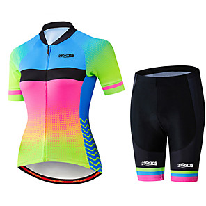 cheap Cycling Jersey & Shorts / Pants Sets-21Grams Women's Short Sleeve Cycling Jersey with Shorts Black / Green Polka Dot Gradient Bike Clothing Suit Breathable 3D Pad Quick Dry Ultraviolet Resistant Sweat-wicking Sports Polka Dot Mountain