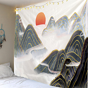 cheap Wall Tapestries-Tongdi Verdikte Boho Tapestry Olie Landschapsschilderkunst Afdrukken Muur Opknoping Mat Decoratie Voor Thuis Parlor Slaapkamer Woonkamer3 bestellingen