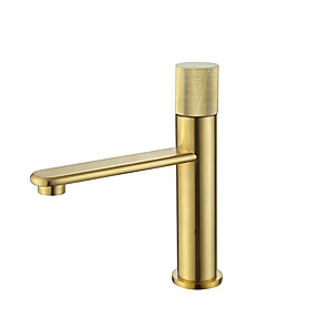 cheap Classical-Bathroom Sink Faucet - Black / Brushed Gold Finish Bath Mixer Taps Single Handle Hot and Cold Water Basin Faucet