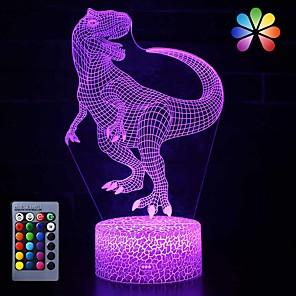 cheap 3D Night Lights-3D Dinosaur Night Light Led Illusion Lamp 16 Color Change Remote Control Decor Lights for Bed Living Room Kids Girls Boys Christmas AA Batteries Powered / USB 1pc