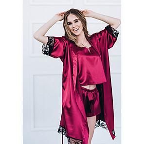 cheap Wedding Shoes-Women's Lace Chemises & Gowns Nightwear Color Block Wine Black S M L