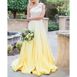 cheap Prom Dresses-A-Line Minimalist Yellow Engagement Formal Evening Dress One Shoulder Sleeveless Court Train Satin with Pleats 2020