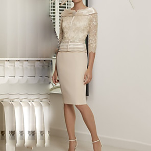 cheap Evening Dresses-Sheath / Column Mother of the Bride Dress Elegant Bateau Neck Knee Length Polyester 3/4 Length Sleeve with Appliques 2020