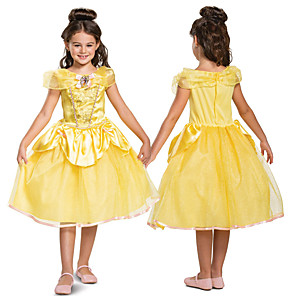 cheap Movie & TV Theme Costumes-Princess Belle Dress Flower Girl Dress Girls' Movie Cosplay A-Line Slip Cosplay Yellow Dress Halloween Carnival Masquerade Tulle Polyester