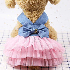 cheap Dog Clothes-Dog Outfits Dress Dog Clothes Pink Blue Black Costume Polyster Sequin Wedding XS S M L XL XXL