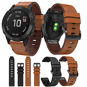 cheap Smartwatch Screen Protectors-Smartwatch Band for Garmin Fenix 6X  6 Fenix6s  5s 5 5x 3 3HR Leather Loop Genuine Leather Sport Business Bands High-end Fashion comfortable Health Wrist Straps
