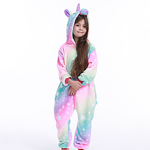 cheap Doorbell Systems-Kid's Kigurumi Pajamas Unicorn Onesie Pajamas Flannelette Purple / Pink Cosplay For Boys and Girls Animal Sleepwear Cartoon Festival / Holiday Costumes