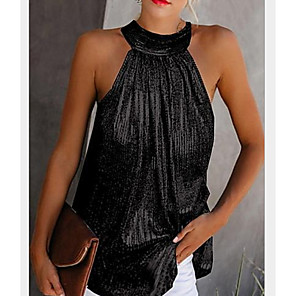 cheap Women's Heels-Women's Daily Plus Size Blouse Tank Top Solid Colored Plain Sequins Cut Out Pleated Sleeveless Tops Halter Neck Black Yellow Silver