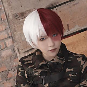 cheap Lolita Wigs-My Hero Academia Boko No Hero Todoroki Shouto Cosplay Wigs Women's Asymmetrical 10 inch Heat Resistant Fiber kinky Straight Red Red Anime