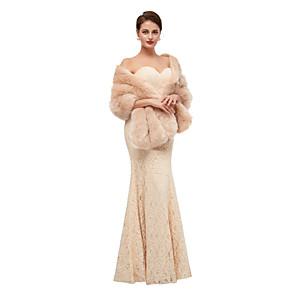 cheap Wedding Wraps-Sleeveless Shawls Faux Fur Party / Evening Shawl & Wrap / Women's Wrap With Button