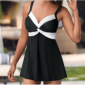 cheap Wetsuits, Diving Suits & Rash Guard Shirts-Women's Tankini Swimsuit Slim Color Block Swimwear Bathing Suits Black / Padded Bras