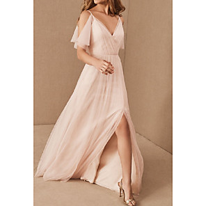 cheap Bridesmaid Dresses-A-Line V Neck Floor Length Tulle Bridesmaid Dress with Pleats