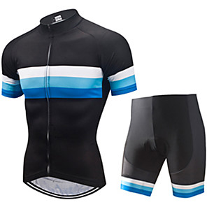 cheap Cycling Jersey & Shorts / Pants Sets-21Grams Men's Short Sleeve Cycling Jersey with Shorts Spandex Polyester Black / Blue Patchwork Bike Clothing Suit UV Resistant Breathable 3D Pad Quick Dry Sweat-wicking Sports Solid Color Mountain