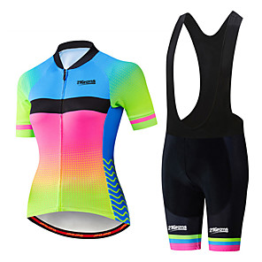 cheap Cycling Jersey & Shorts / Pants Sets-21Grams Women's Short Sleeve Cycling Jersey with Bib Shorts Black / Green Polka Dot Gradient Bike Clothing Suit Breathable 3D Pad Quick Dry Ultraviolet Resistant Sweat-wicking Sports Polka Dot