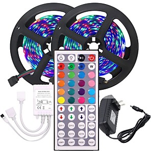 cheap LED Strip Lights-2x5M Flexible LED Light Strips Light Sets RGB Tiktok Lights 600 LEDs SMD3528 8mm 1 44Keys Remote Controller / 1 x 12V 3A Adapter 1 set Multi Color Christmas / New Year's Waterproof / Party