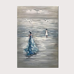 cheap Abstract Paintings-Hand-Painted Beautiful Travel Girl Modern Oil Painting on Canvas Sea Landscape Wall Art for Home Decoration with Frame Ready to Hang