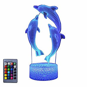 cheap 3D Night Lights-Night Light for Kids Ocean Dolphin 3D Night Light Porpoise Bedside Lamp with Remote Control 16 Color Changing Xmas Halloween Birthday Gift for Child Baby Girl