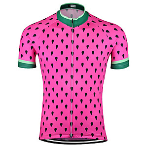 cheap Cycling Jerseys-21Grams Men's Short Sleeve Cycling Jersey Rose Red Polka Dot Bike Jersey Top Mountain Bike MTB Road Bike Cycling UV Resistant Breathable Quick Dry Sports Clothing Apparel / Stretchy / Race Fit
