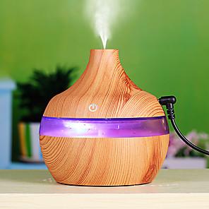 cheap Car Life Appliances-300ml Humidifier Aroma Essential Oil Diffuser Ultrasonic Wood Grain Car Air Humidifier USB Mini Mist Maker 7 LED Light Car / Home