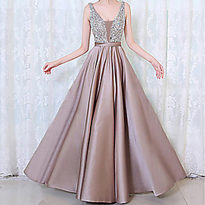 cheap Prom Dresses-Women's Maxi A Line Dress - Sleeveless Solid Colored Beaded Spring Summer V Neck Cocktail Party Prom Black Purple Blushing Pink Green Navy Blue Beige S M L XL XXL XXXL / Sexy