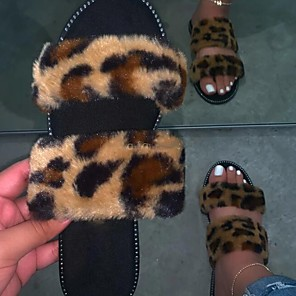 cheap Women's Sandals-Women's Sandals Flat Sandal Summer Flat Heel Open Toe Daily Faux Fur Black / Pink / Brown