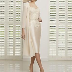 cheap Evening Dresses-Sheath / Column Mother of the Bride Dress Elegant Illusion Neck Tea Length Lace Satin Short Sleeve with Appliques 2020