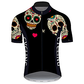 cheap Cycling Jerseys-21Grams Men's Short Sleeve Cycling Jersey Black / Red Skull Bike Jersey Top Mountain Bike MTB Road Bike Cycling UV Resistant Breathable Quick Dry Sports Clothing Apparel / Stretchy