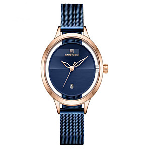 cheap Quartz Watches-NAVIFORCE Ladies Quartz Watches Casual Fashion Black Blue Silver Stainless Steel Japanese Quartz Rose Gold Blue Silver Water Resistant / Waterproof Calendar / date / day New Design 30 m 1 pc Analog