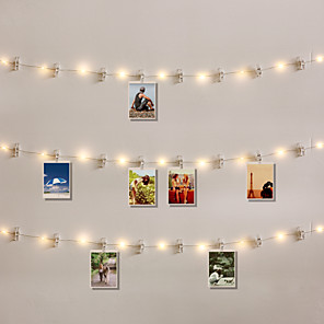 cheap LED String Lights-20LED Photo Clip Light LED Colorful Light Night Light Decoration Light hall Bedroom Atmosphere Light Party Wedding Decoration Light Configuration 20 Dlips 1 Set