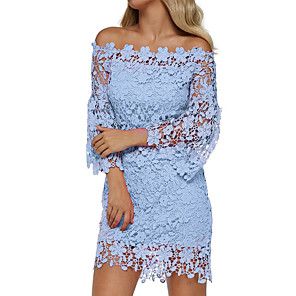 cheap Women's Boots-Women's Sheath Dress - Long Sleeve Solid Color Lace Off Shoulder Hollow Off Shoulder Floral Holiday 2020 Wine White Black Blushing Pink Orange Green Navy Blue Light Blue S M L XL XXL