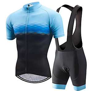 cheap Cycling Jersey & Shorts / Pants Sets-21Grams Men's Short Sleeve Cycling Jersey with Bib Shorts Black / Blue Plaid / Checkered Gradient Bike Clothing Suit UV Resistant Breathable 3D Pad Quick Dry Sweat-wicking Sports Plaid / Checkered