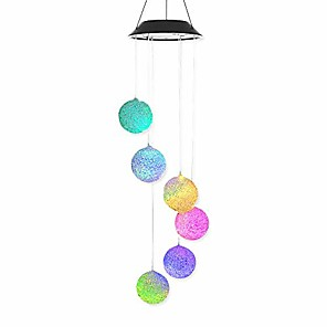 cheap LED String Lights-1pcs Solar Garden Light Outdoor Lighting particle sphere Solar Powered LED Wind Chime Hummingbird Wind Chime Color-Changing Waterproof for Patio Yard