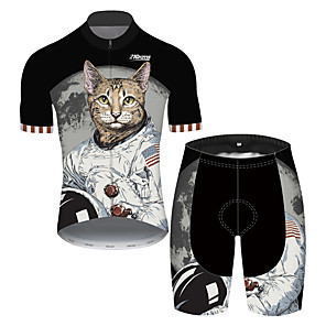 cheap Cycling Jersey & Shorts / Pants Sets-21Grams Men's Short Sleeve Cycling Jersey with Shorts Spandex Polyester Black / White Cat Animal American / USA Bike Clothing Suit UV Resistant Breathable Quick Dry Sweat-wicking Sports Cat Mountain