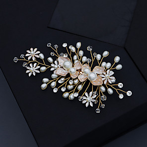 cheap Hair Jewelry-Women's For Wedding Anniversary Gift Formal Imitation Pearl Rhinestone Alloy Golden 1pc
