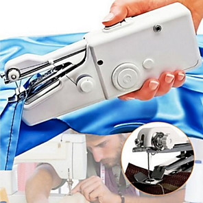 cheap Household Appliances-Hand Sewing Machine Mini Hand-held Cordless Portable Sewing Machine Quick Repairing Suitable for Denim Curtains Leather