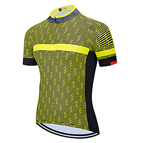 cheap Cycling Jerseys-21Grams Men's Short Sleeve Cycling Jersey Dark Grey Black / Red Black / Yellow Plaid / Checkered Bike Jersey Top Mountain Bike MTB Road Bike Cycling UV Resistant Breathable Quick Dry Sports Clothing
