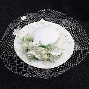 cheap Fascinators-Net Fascinators with Flower 1 Piece Wedding / Tea Party Headpiece