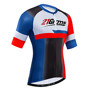 cheap Cycling Jerseys-21Grams Women's Short Sleeve Cycling Jersey Red+Blue Bike Jersey Top Mountain Bike MTB Road Bike Cycling UV Resistant Breathable Quick Dry Sports Clothing Apparel / Stretchy