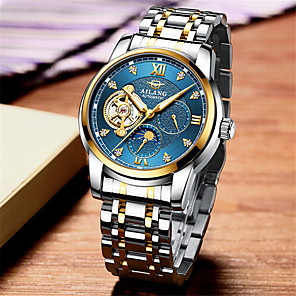cheap Quartz Watches-Men's Mechanical Watch Automatic self-winding Titanium Alloy 30 m Water Resistant / Waterproof Moon Phase Day Date Analog Fashion Cool - Black / Silver Black+Gloden White+Golden One Year Battery Life