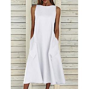 cheap Women's Sandals-Women's A-Line Dress Midi Dress - Sleeveless Pocket Summer Basic Holiday White Blue Yellow Gray S M L XL XXL