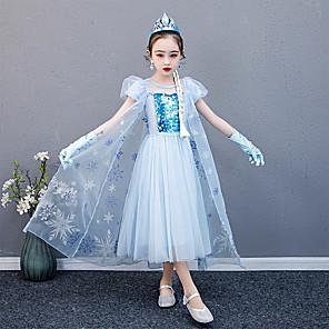 cheap Movie & TV Theme Costumes-Princess Elsa Dress Flower Girl Dress Girls' Movie Cosplay A-Line Slip Blue Dress Children's Day Masquerade Tulle Cotton