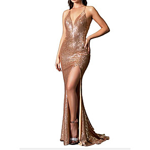 cheap Party Sashes-Mermaid / Trumpet Sparkle Wedding Guest Prom Dress Spaghetti Strap Sleeveless Sweep / Brush Train Sequined with Sequin Split 2020