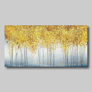 cheap Abstract Paintings-Oil Painting Hand Painted - Abstract Comtemporary Modern Stretched Canvas Golden Trees