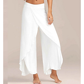 cheap Latin Dancewear-Women's Sporty Loose Wide Leg Pants Solid Colored White Black Blue S M L