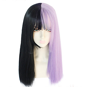 cheap Makeup Brush Sets-GAGA LADY Cosplay Wigs Women's Straight bangs 26 inch Heat Resistant Fiber kinky Straight Purple Adults' Anime Wig